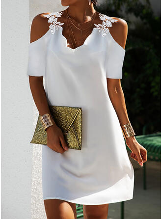 Lace/Solid/Backless Short Sleeves Shift Above Knee Elegant Tunic Dresses