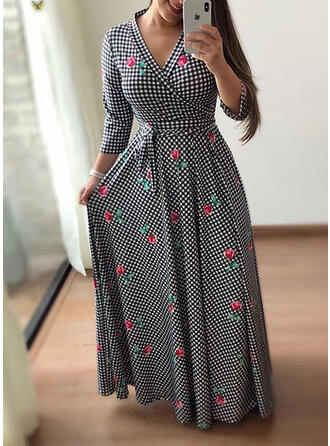 Plus Size Floral Plaid Print Long Sleeves A-line Maxi Casual Elegant Dress