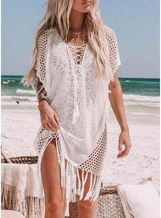 Solid Color Tassels V-Neck Sexy Cover-ups Swimsuits