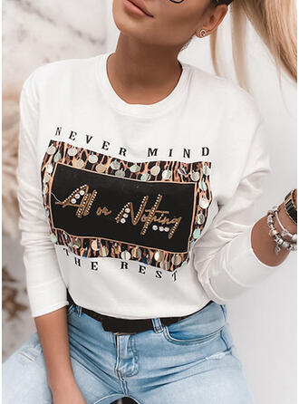 Figure Print Sequins Round Neck Long Sleeves T-shirts