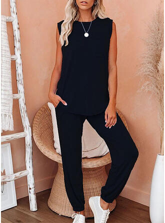 Solid Round Neck Sleeveless Casual Suits