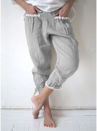Solid Linen Cropped Casual Shirred Pants Lounge Pants