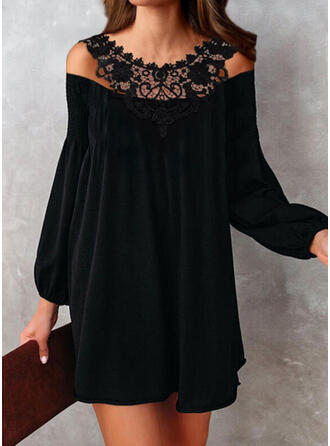 Lace/Solid Long Sleeves/Lantern Sleeve Shift Above Knee Little Black/Casual Tunic Dresses