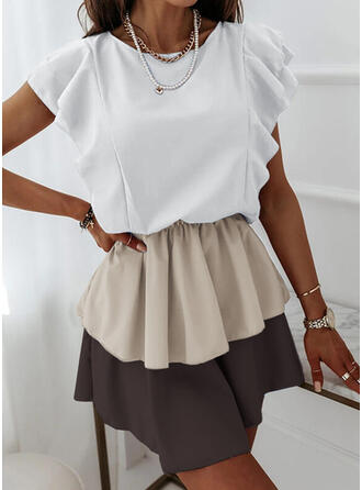 Color Block Short Sleeves A-line Above Knee Casual Skater Dresses