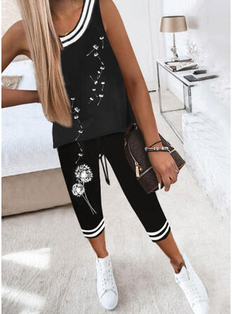 Striped Print Dandelion Casual Sporty Plus Size Two-Piece Outfits