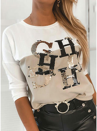 Color Block Figure Sequins Round Neck Long Sleeves T-shirts