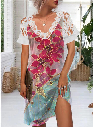 Print Lace Short Sleeves Shift Above Knee Casual Tunic Dresses