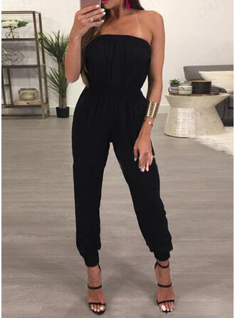 Solid Strapless Sleeveless Casual Vacation Sexy Jumpsuit