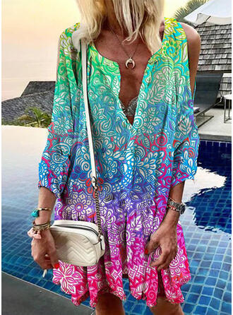 Print/Floral/Gradient 3/4 Sleeves Shift Knee Length Casual/Vacation Tunic Dresses