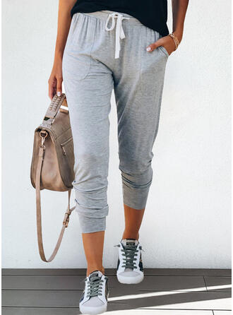 Solid Long Casual Sporty Drawstring Pants Lounge Pants