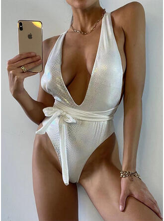 Solid Color V-Neck Sexy One-piece Swimsuits