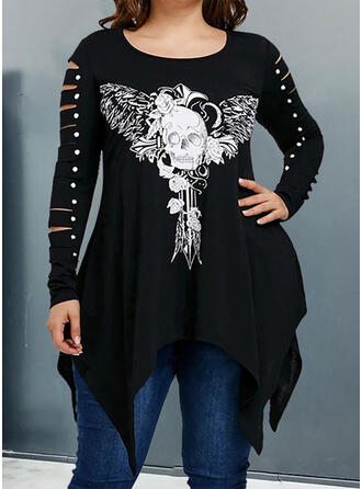 Floral Print Round Neck Long Sleeves Casual Plus Size Blouses