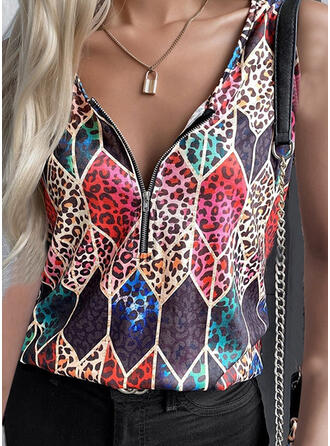 Leopard Geometric Print V-Neck Sleeveless Tank Tops