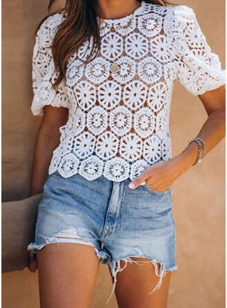 Solid Round Neck Short Sleeves Casual Blouses