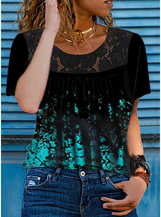 Print Lace Round Neck Short Sleeves T-shirts