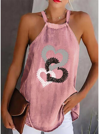 Beaded Heart Print Strap Sleeveless Tank Tops
