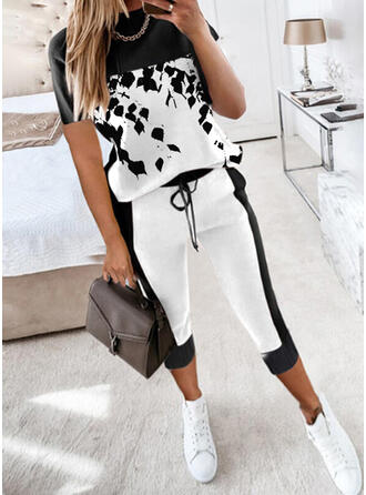 Color Block Print Casual Plus Size Drawstring Two-Piece Outfits