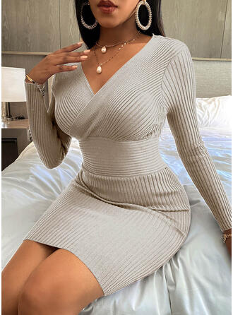 Solid V-Neck Casual Long Tight Sweater Dress