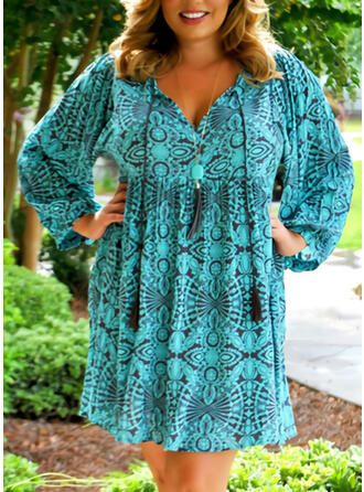 Plus Size Print Long Sleeves Shift Above Knee Casual Vacation Dress