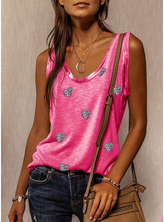 Heart Sequins Round Neck Sleeveless Tank Tops
