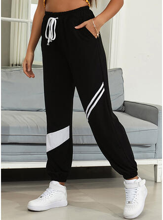 Striped Shirred Long Casual Sporty Pants