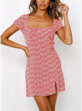 Print/Floral/Backless Short Sleeves Sheath Above Knee Casual Dresses