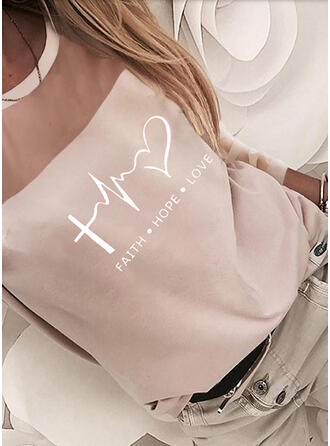 Heart Print Letter Chiffon Cotton Round Neck Long Sleeves T-shirts