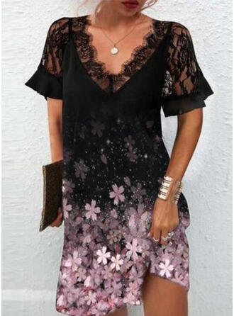 Print/Floral Lace Short Sleeves Shift Knee Length Casual Tunic Dresses