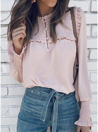 Solid Round Neck Long Sleeves Lantern Sleeve Casual Blouses
