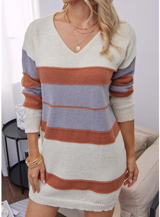 Color Block V-Neck Casual Sweater Dress