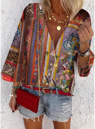 Floral Animal Print V-Neck 3/4 Sleeves Button Up Casual Shirt Blouses