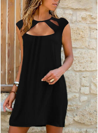 Solid Cap Sleeve Shift Above Knee Little Black/Casual Dresses