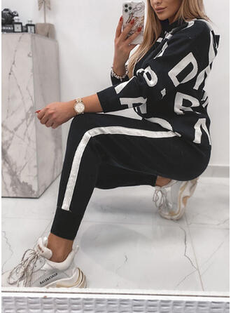 Letter Striped Print Color Block Sporty Casual Plus Size Sweatshirts & Two-Piece Outfits Set