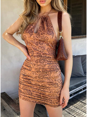 Print Sleeveless Bodycon Above Knee Sexy/Casual/Party Dresses