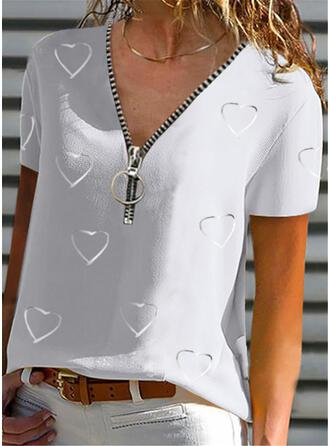 Print Heart V-Neck Short Sleeves Casual Blouses