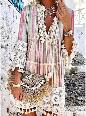 Lace/Print/Tassel 3/4 Sleeves/Flare Sleeves Shift Above Knee Casual/Vacation Dresses
