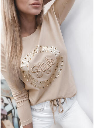 Beaded Figure Print Round Neck Long Sleeves T-shirts
