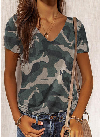 Camouflage V-Neck Short Sleeves T-shirts
