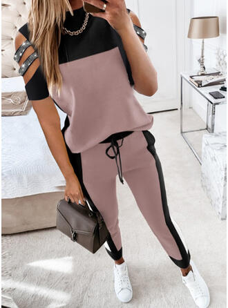 Color Block Casual Blouse & Two-Piece Outfits Set