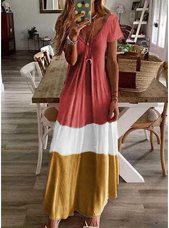 Color Block Short Sleeves Shift T-shirt Casual Maxi Dresses