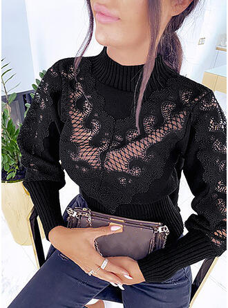 Solid Lace Stand Collar Casual Sweaters