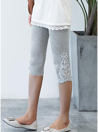 Solid Lace Knee-length Casual Plus Size Jacquard Hollow Out Pants Leggings
