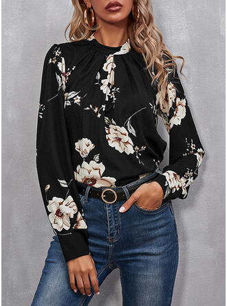 Print Floral Stand collar Long Sleeves Casual Button Blouses