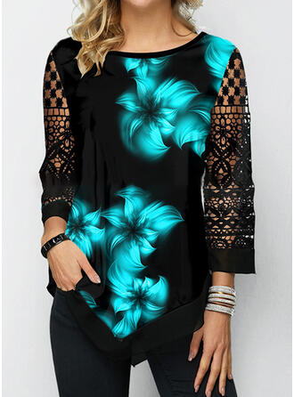 Floral Print Lace Round Neck 3/4 Sleeves T-shirts