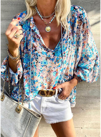 Print Floral Tassel Lace-up V-Neck Long Sleeves Casual Blouses