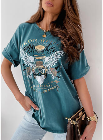 Figure Floral Print Round Neck 1/2 Sleeves T-shirts