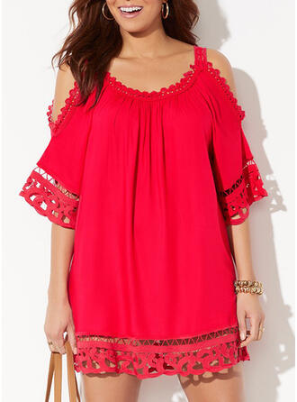 Plus Size Lace Solid 1/2 Sleeves Shift Above Knee Casual Vacation Dress