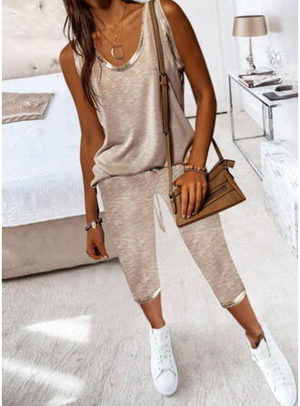 Solid Casual Plus Size Camisole & Pants Two-Piece Outfits Set
