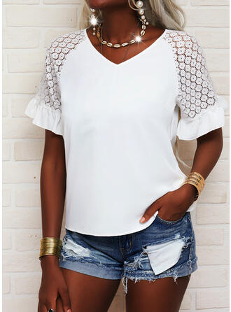 Solid Lace V-Neck Short Sleeves Raglan Sleeve Casual Blouses
