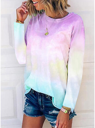 Tie Dye Round Neck Long Sleeves T-shirts